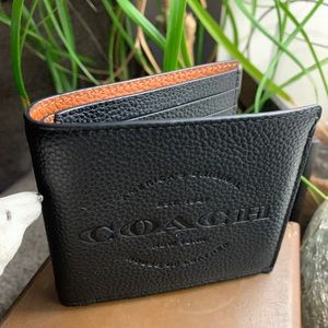 Authentic Coach smooth leather 2 tone logo wallet